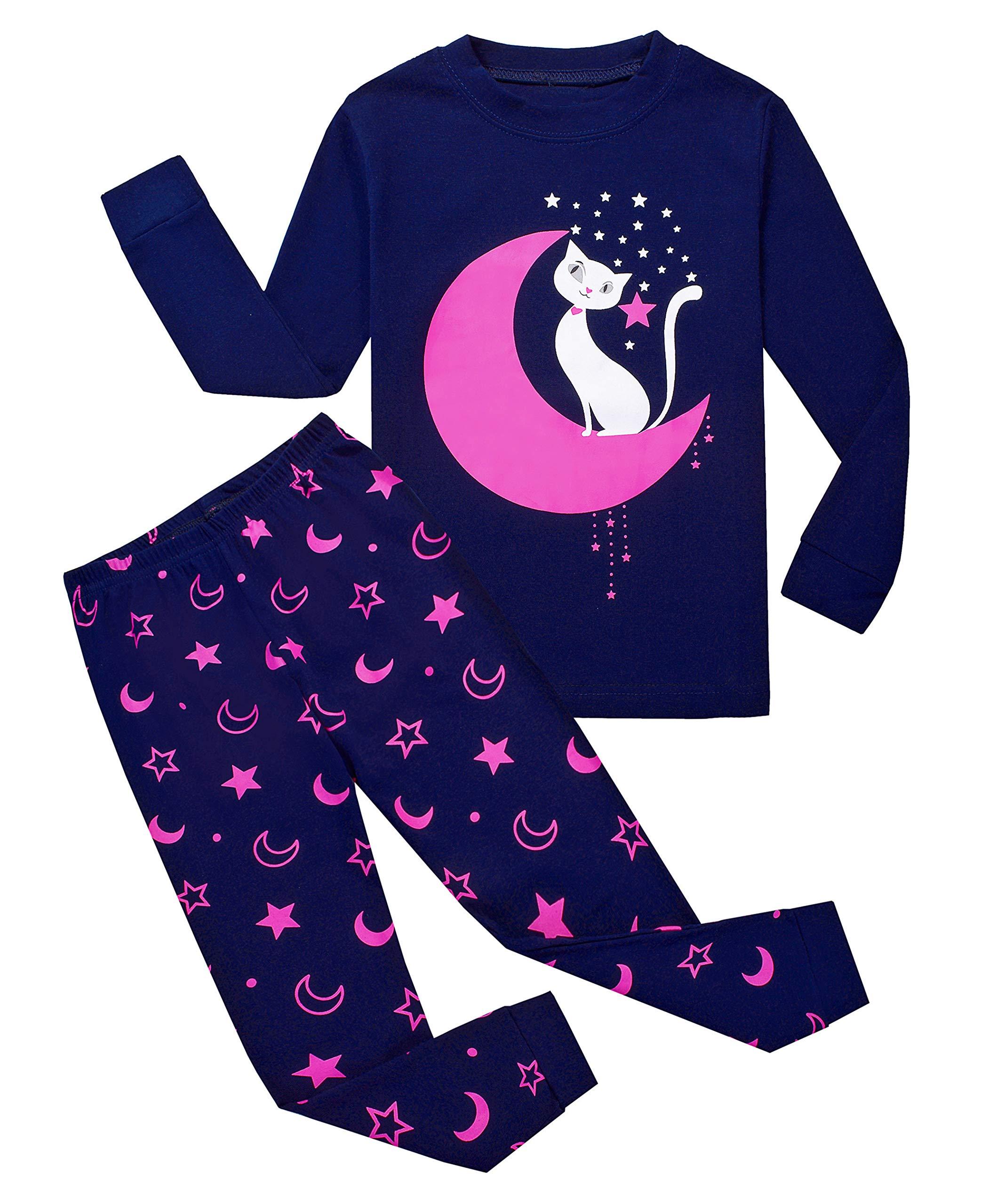 Garsumiss Girls Pajamas Owl Sleepwear Toddler Clothes Cotton Little Kids Pjs (5 Years, Purple/Cat)