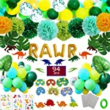 Funnlot Dinosaur Party Supplies 94PCS Dino Party Favors Including RWAR Latex Balloons Dino Masks Dino Banners Cake Toppers Tattoos Tropical palm leaves and poms flowers for boys Baby Shower Party