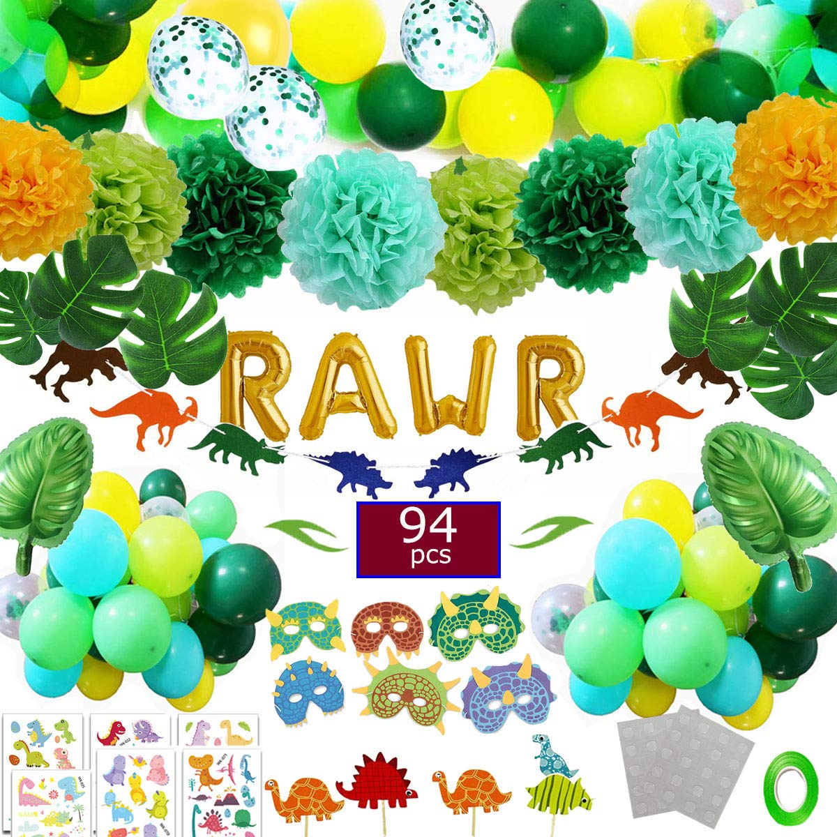 Funnlot Dinosaur Party Supplies 94PCS Dino Party Favors Including RWAR Latex Balloons Dino Masks Dino Banners Cake Toppers Tattoos Tropical palm leaves and poms flowers forboysBaby Shower Party by Funnlot