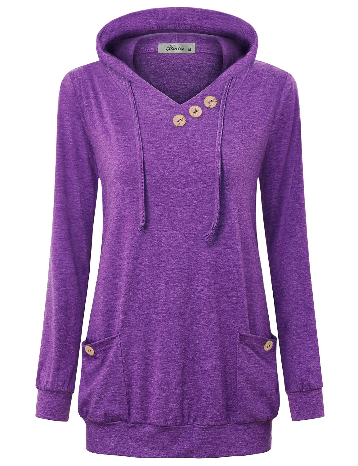 Finice Sweatshirts For Women, Juniors Tops Cute V Neck Long Sleeve Tunic Shirt Simple Basic Designer Drawstring Pullover Hoodie With Pockets Christmas Gift 2017 Purple XL