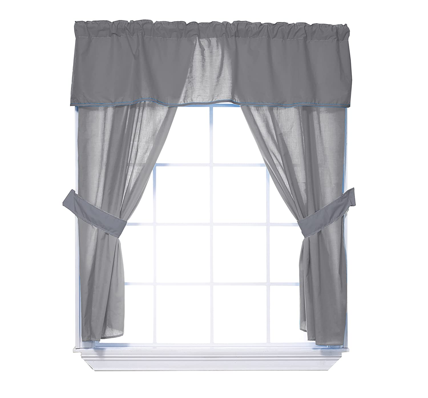 Mint Baby Doll Bedding Solid 5-Piece Window Valance Curtain Set
