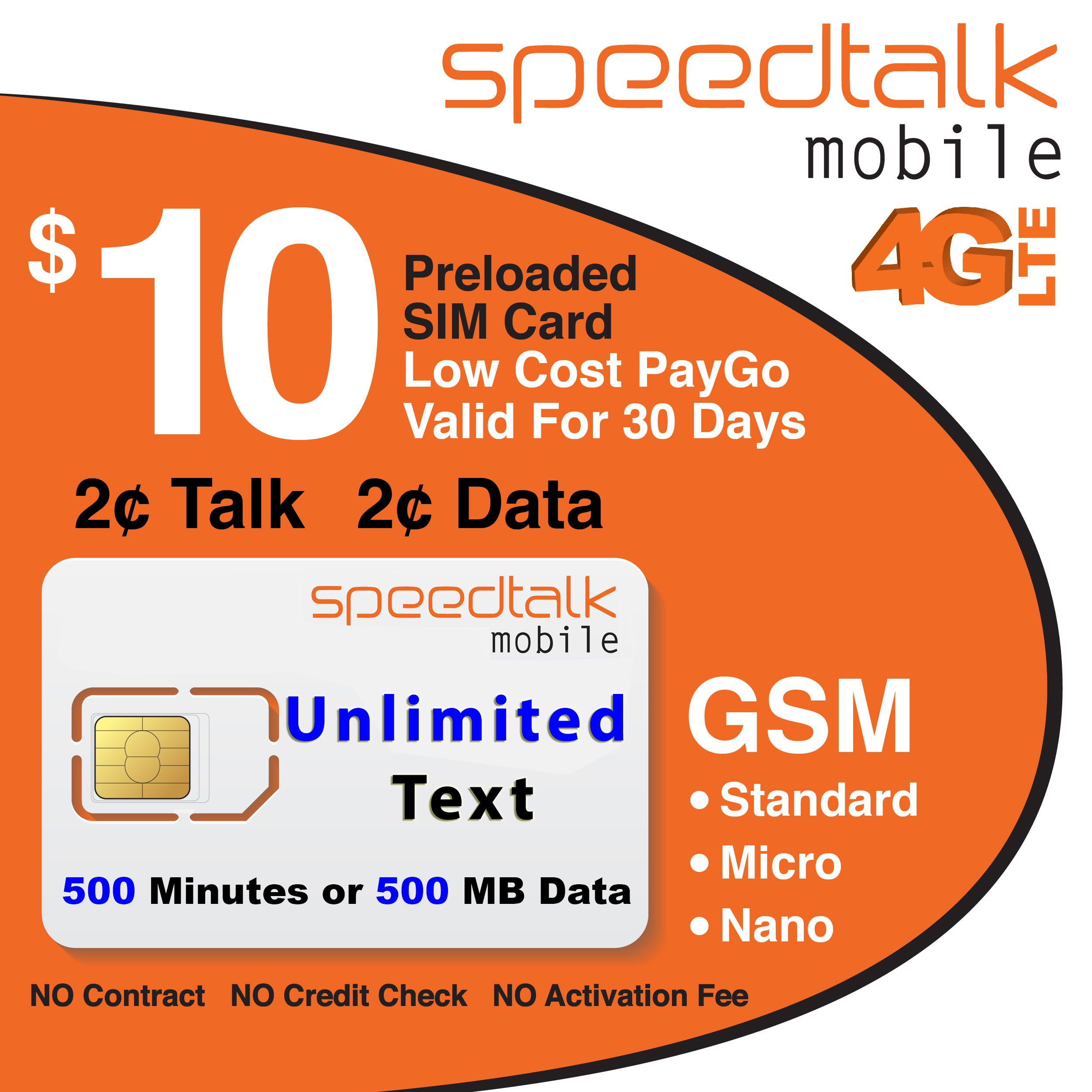 $10 GSM SIM Card Unlimited Text 2 Cents Per Minute 2 Cents Per MB Data 30-Day Wireless Service by SpeedTalk Mobile