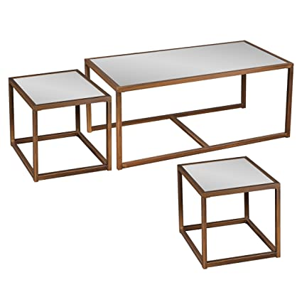 Southern Enterprises Nested Cocktail And End Table Set Of 3, Antique Bronze  Finish