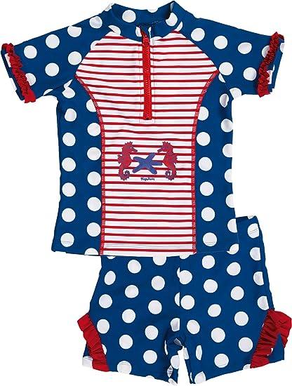 84a0c6c8 Playshoes Girl's UV Sun Protection 2 Piece Swim Set Seahorse Swimsuit:  Amazon.co.uk: Clothing
