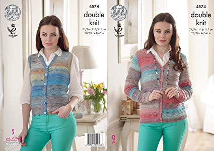 ee07c962d Image Unavailable. Image not available for. Colour  King Cole 4574 Knitting  Pattern Womens Waistcoat and Cardigan in King Cole Sprite DK