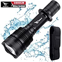WISSBLUE H1 3800 Lumen Rechargeable Tactical LED Flashlight Military Grade with Leather Holster, Tactical Flashlight…