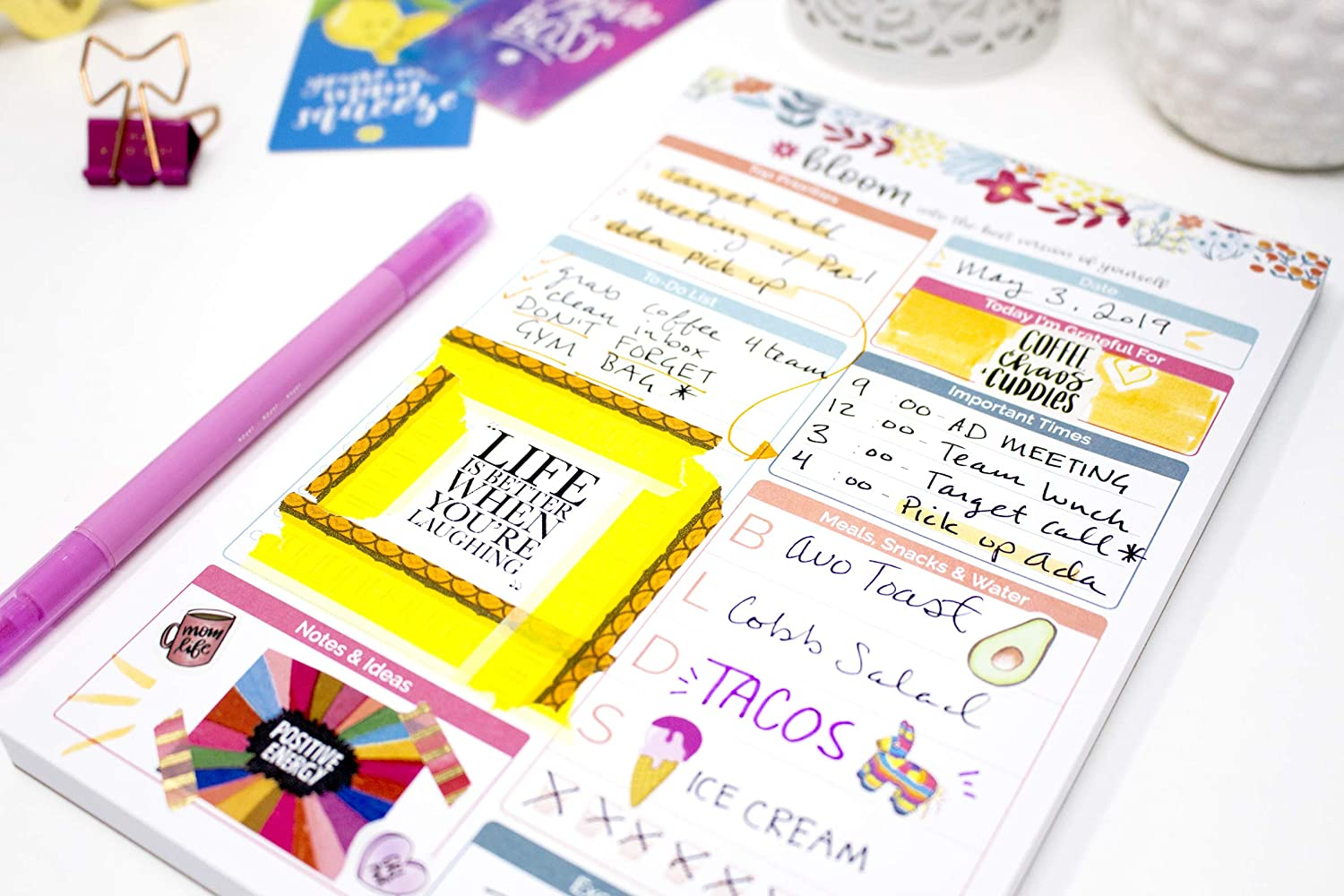 6 x 9 bloom daily planners Weekly Magnetic Meal Planning Pad for Fridge with Tear-Off Grocery Shopping List Lemons Hanging Food//Menu Organizer Notepad with Magnets