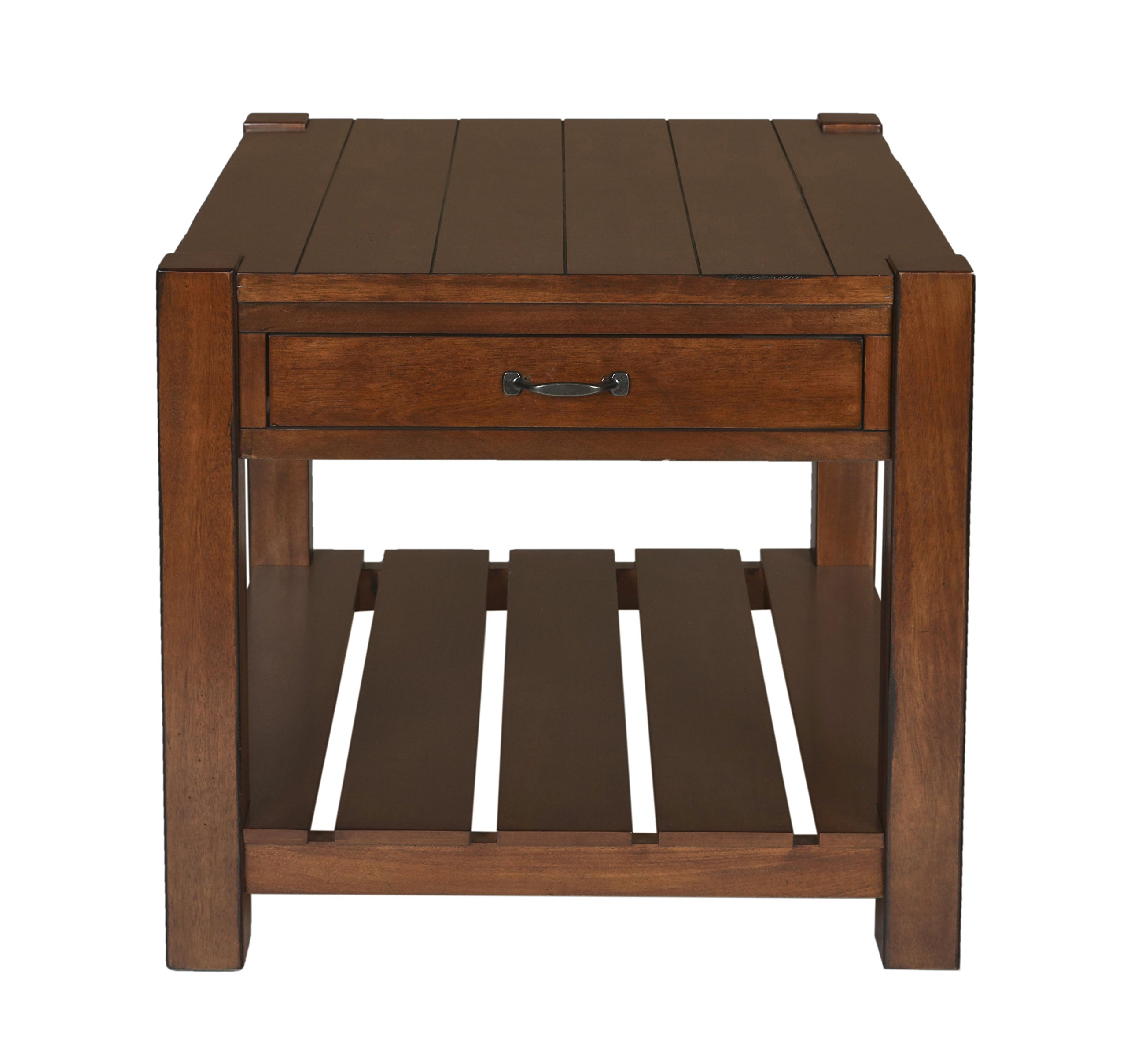 New Classic Giverny End Table, African Honey - Beautifully crafted from African Okoume hardwood solids and veneers Finished in a rich African Honey stain to compliment any décor Convenient Storage drawer for addition items to be tuck away from view - living-room-furniture, living-room, end-tables - 81QVq5sw5uL -