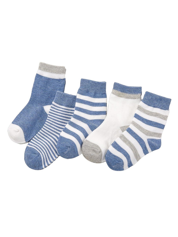 Camilife 5 Paar Baby Jungen Mädchen Baumwolle Socken Set Babysocken Weich Süß und Lieblich - Gestreift