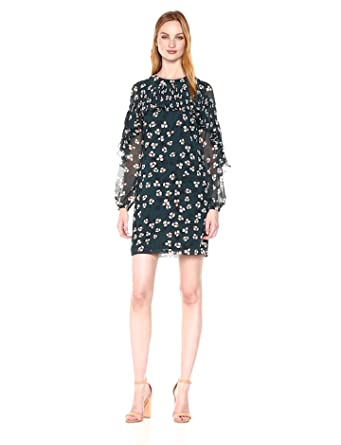 Donna Morgan Women's Floral Shift Dress with Ruffle Neck and Sleeves, Viridian Green/Tamarind Tan Multi, 2