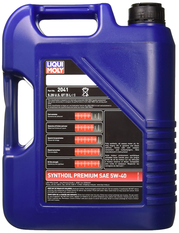Amazon.com: Liqui Moly (2041-4PK Premium 5W-40 Synthetic Motor Oil - 5 Liter, (Pack of 4): Automotive