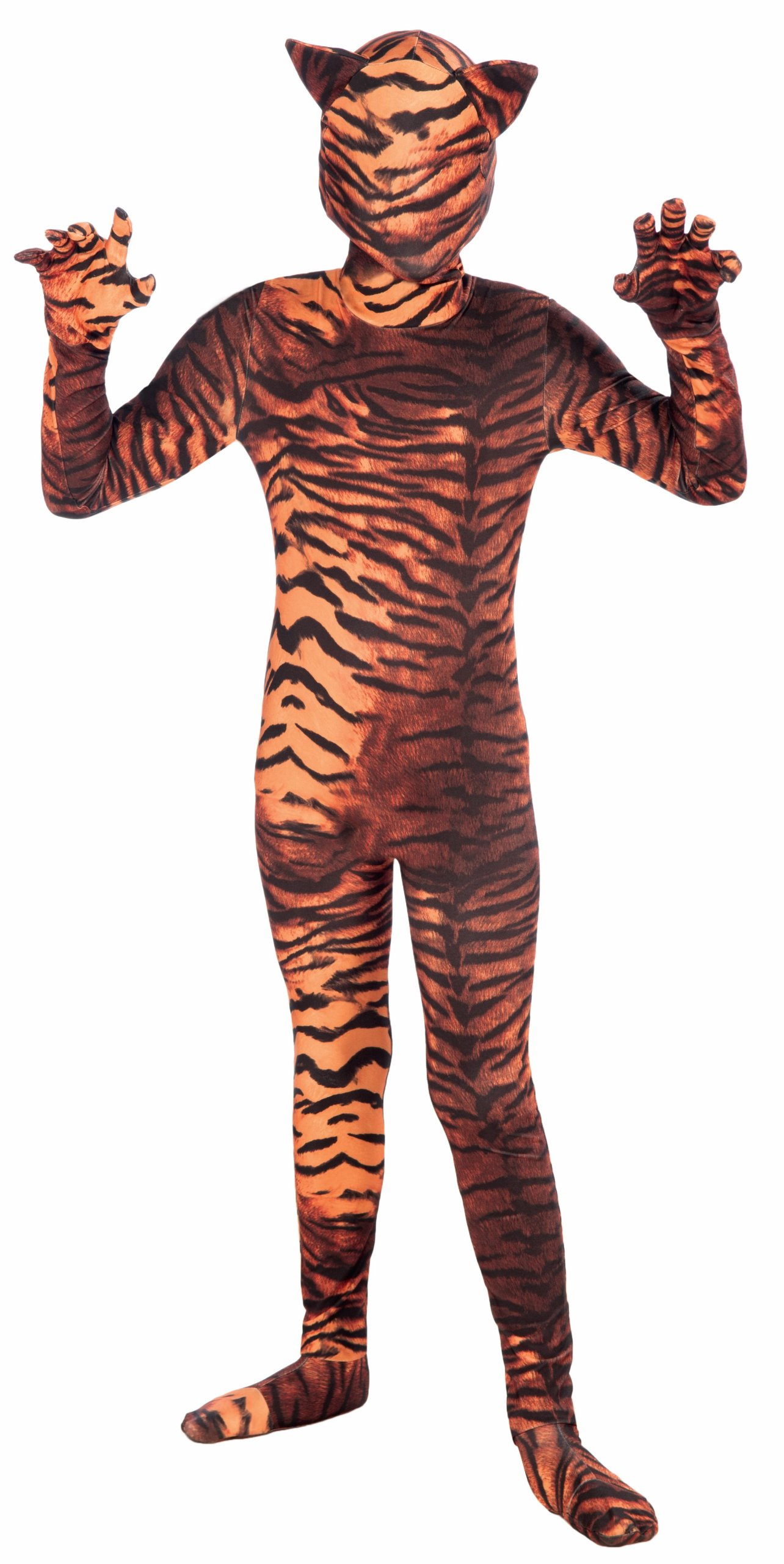- 81QVrx9FsWL - Forum Novelties I'm Invisible Costume Stretch Body Suit, Tiger Print, Child Medium