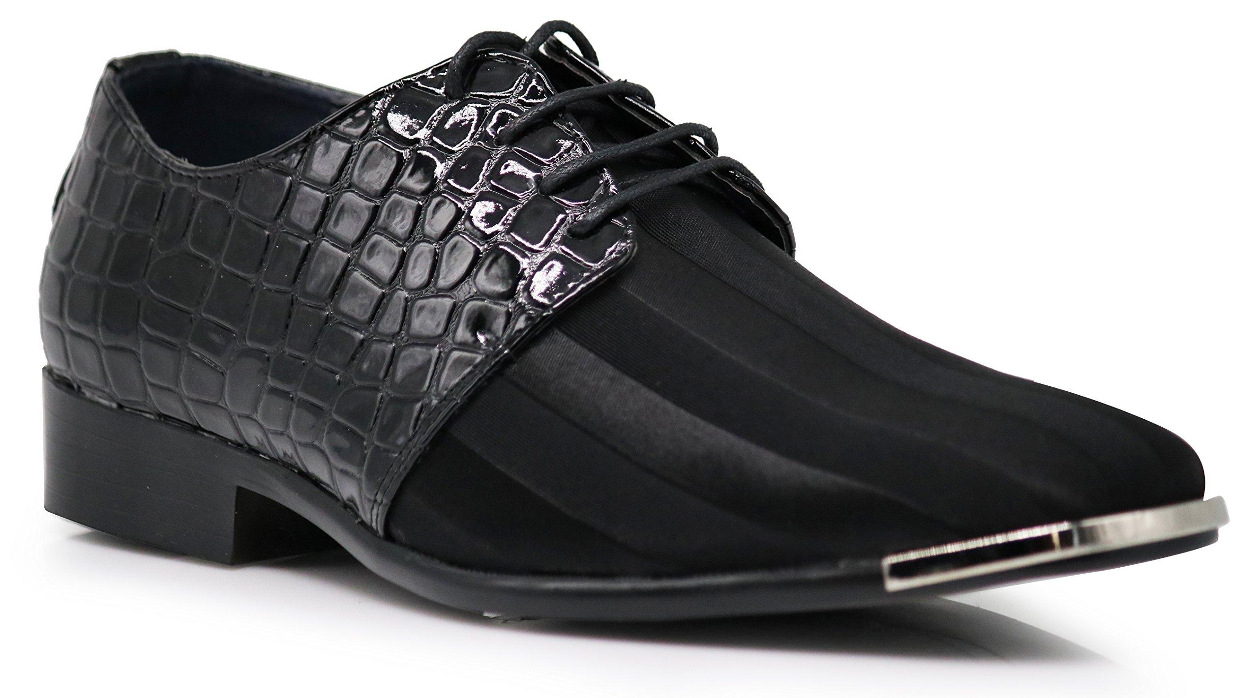 JY2N Men's Satin Metal Silver Tip Oxfords Dress Shoes Stripes Church Wedding Party Groomsmen Oxfords Dress Shoes (10, Black)