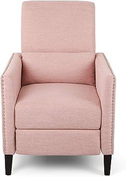 Amazon Com Alexis Contemporary Fabric Push Back Recliner Light Blush Furniture Decor