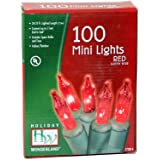 Holiday Wonderland 4003-88 Mini Light Set, Red, 100-count