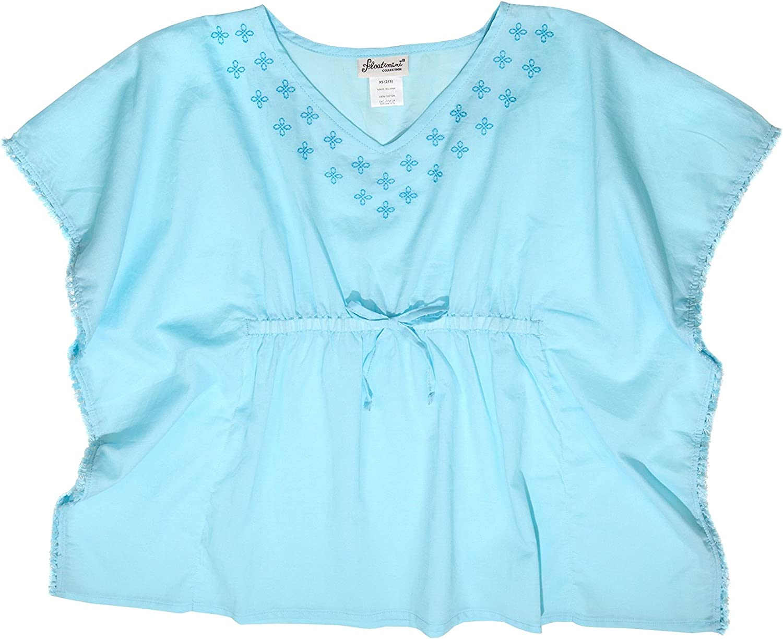 Floatimini Little Girls Embroidered V Neck Kaftan Cover up