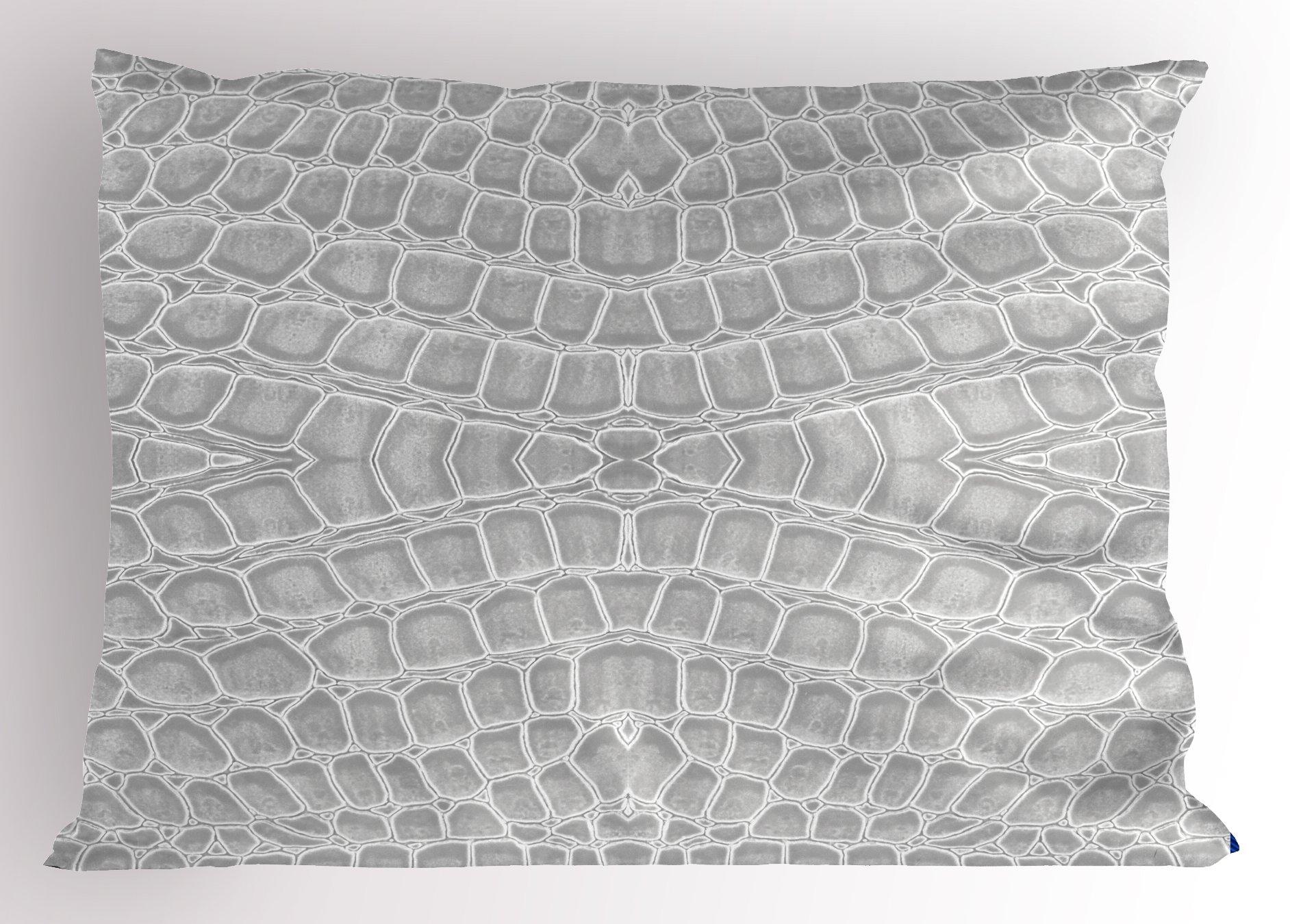 Lunarable Animal Print Pillow Sham, Crocodile Leather Pattern in Material Fashion Theme Design Print, Decorative Standard Size Printed Pillowcase, 26 X 20 inches, Light Gray