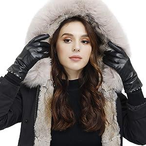 Women's Luxury Italian Sheepskin Leather Winter Gloves with Cashmere Wool Lined