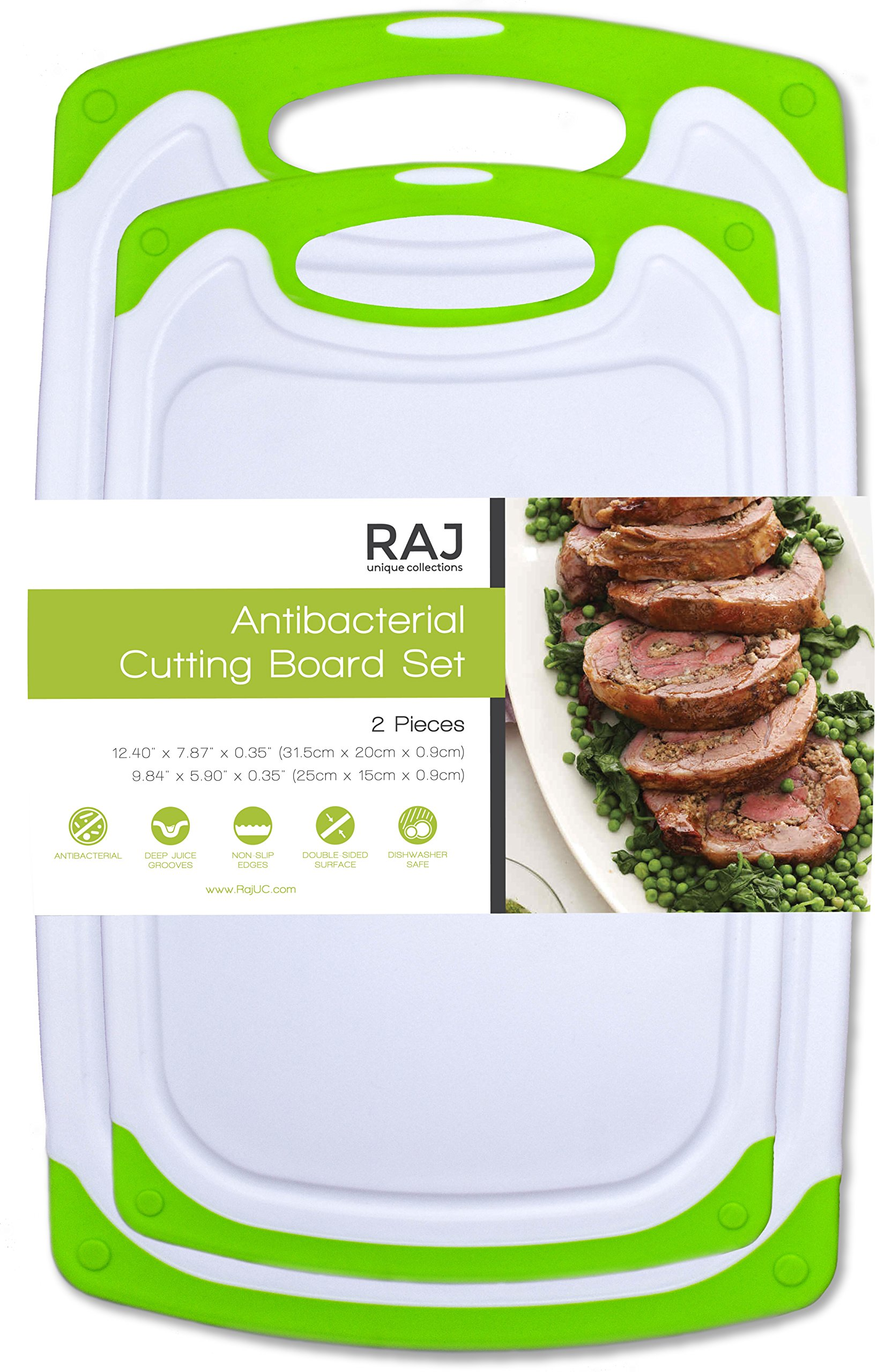 Raj Non-Slip Antibacterial Plastic Cutting Board, Deep Juice Groove, Dishwasher Safe, BPA Free, FDA Approved White and green (2 Pieces, White board with Green Ends)
