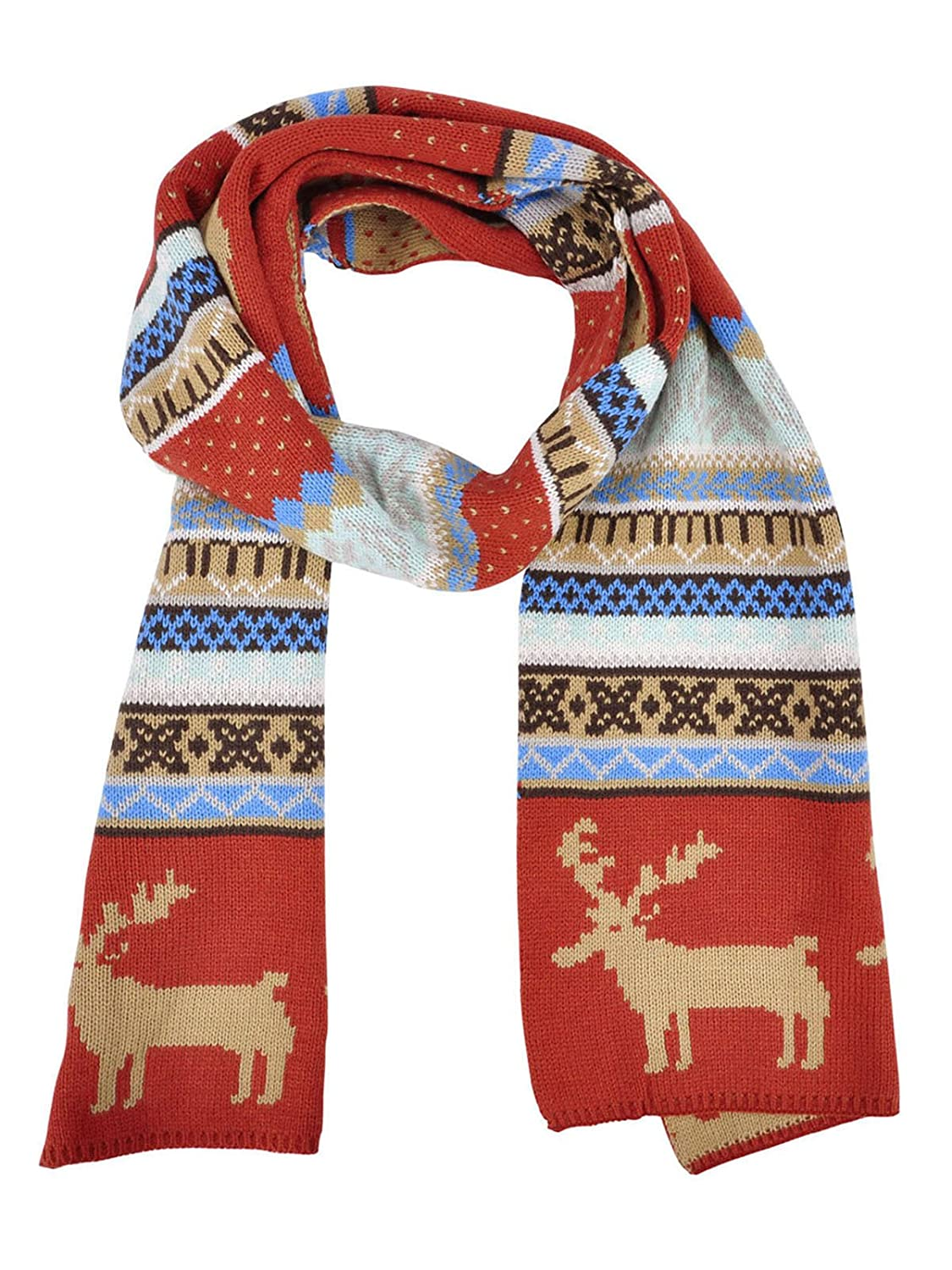 AshopZ Multi-color Knit Wool Winter Scarf Reindeer Pattern Shawl Rust-red /Khaki