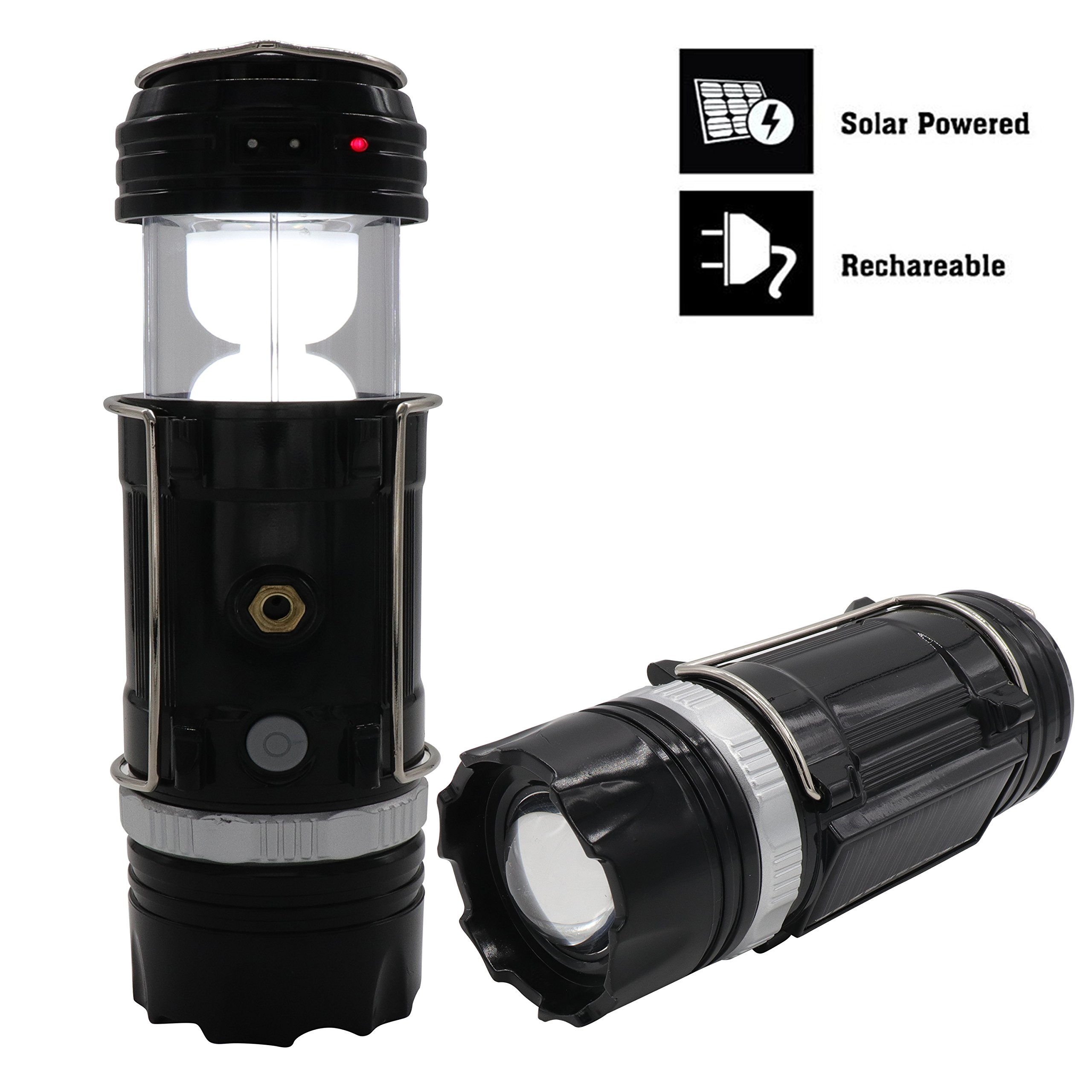 LANT 2-in-1 Rechargeable Solar Led Camping Lantern & Handheld Flashlight lanterns rechargeable for Outdoor and Emergency Long-Range Adjustable Stretching Focusing Bronze