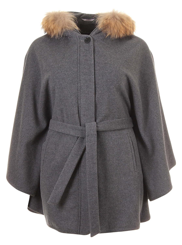 Mantel mit Echtpelz in grau in Übergrößen (44, 46, 48, 50) von Erich Fend