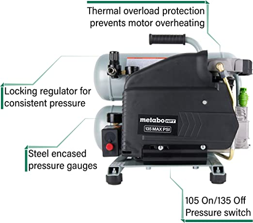 Cast Iron Twin Stack Portable Oil Lubricated Pump 135 Psi Metabo HPT CA Tools EC99S Electric Air Compressor 4 Gallon