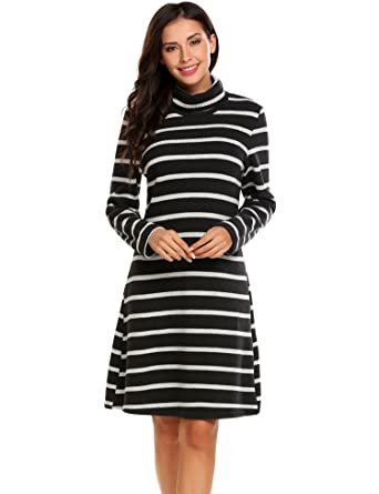 f7679ca4242 ELESOL Women s Long Sleeve Stripes Knit Turtleneck Loose Fit Pullover  Sweater Dress Black S