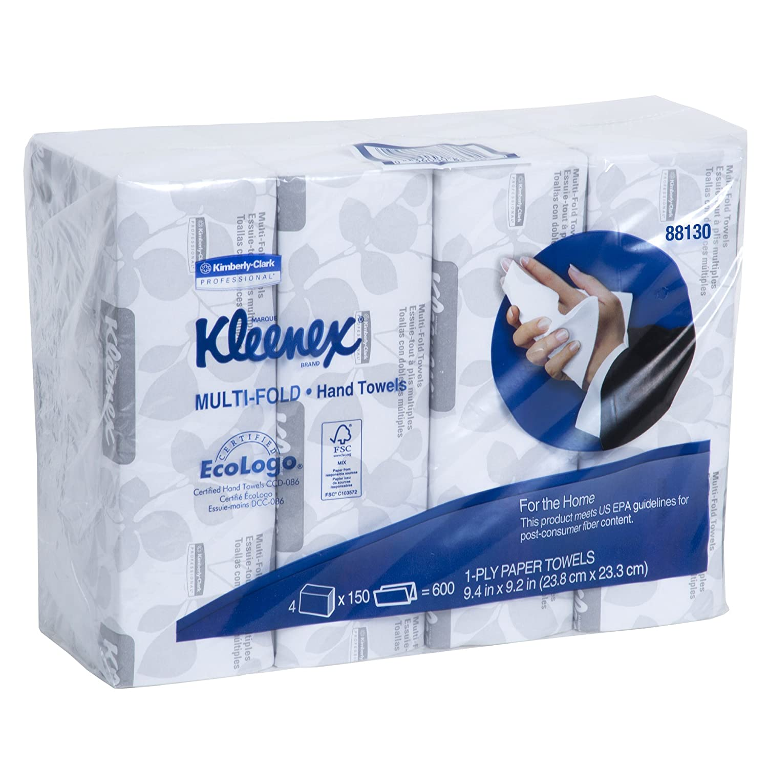 Kleenex Multifold Paper Towels 88130 White 4 Bagged Bundles of 4 Packs 150 Tri Fold Paper Towels Pack 2 400 Towels Case