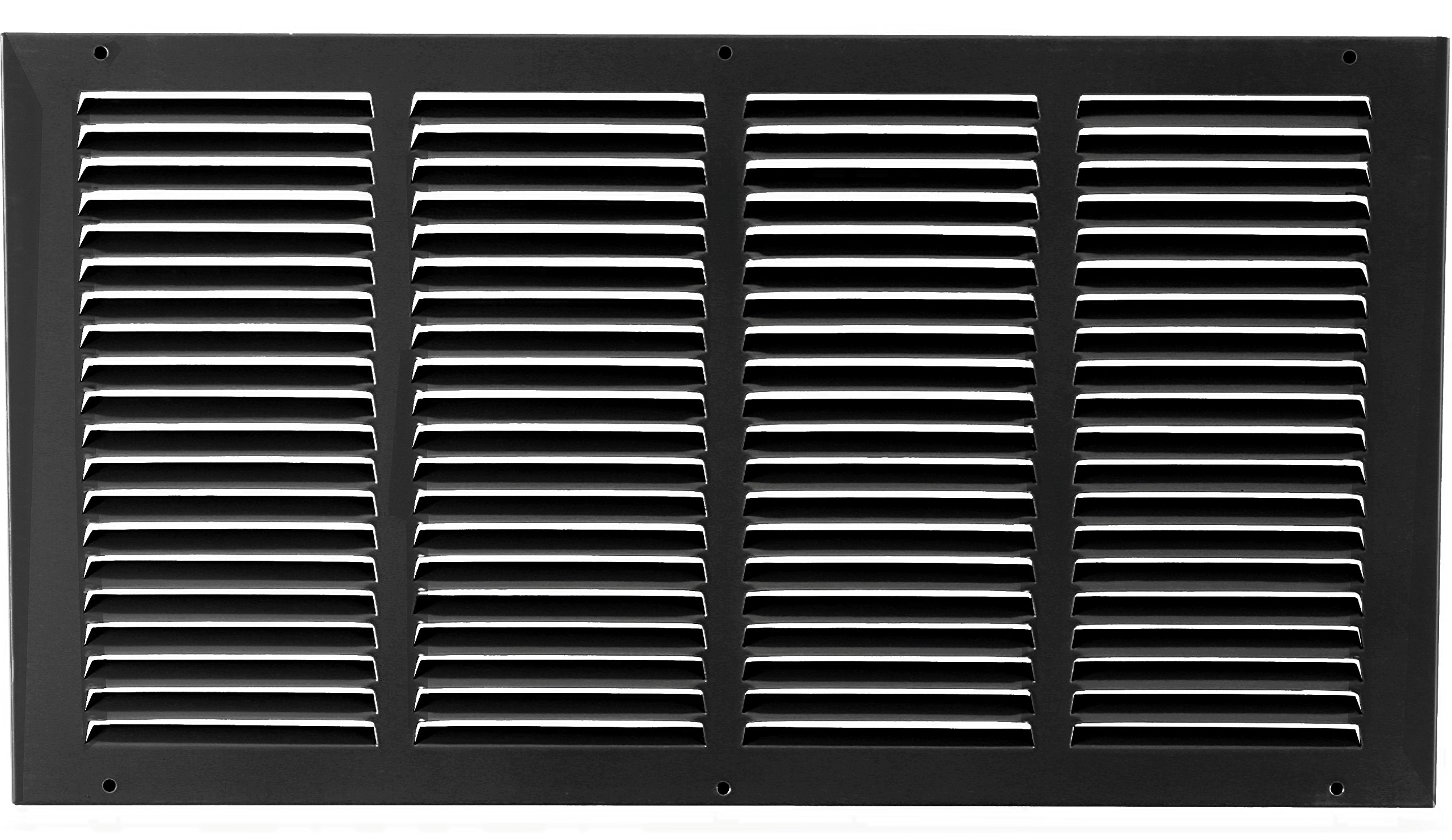 24''w X 10''h Steel Return Air Grilles - Sidewall and Cieling - HVAC DUCT COVER - Black [Outer Dimensions: 25.75''w X 11.75''h]