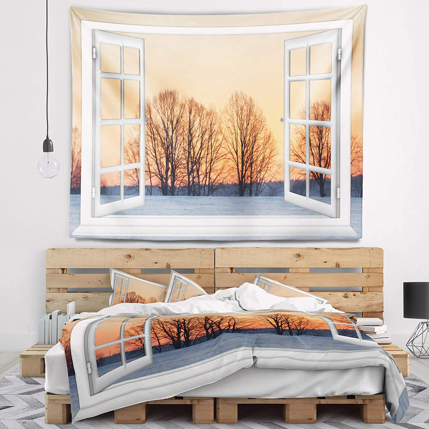 Created On Lightweight Polyester Fabric x 32 in 39 in Designart TAP11426-39-32  Open Window to Snowy Sunset Landscape Blanket D/écor Art for Home and Office Wall Tapestry Medium