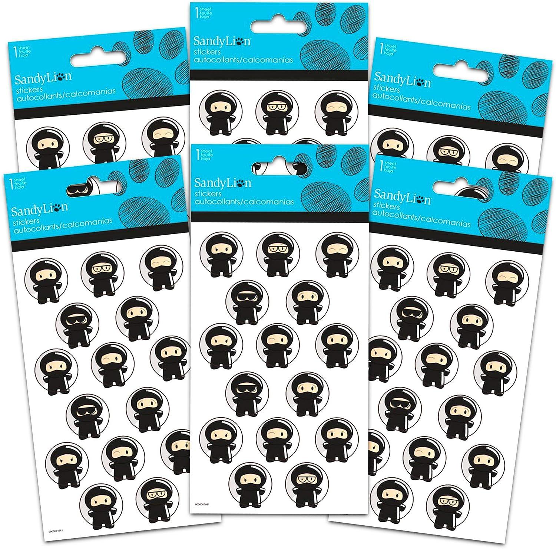 Ninja Party Favors Sticker Set -- 6 Sheets of Mini Ninja Bubble Stickers (Ninja Stickers, Party Supplies)