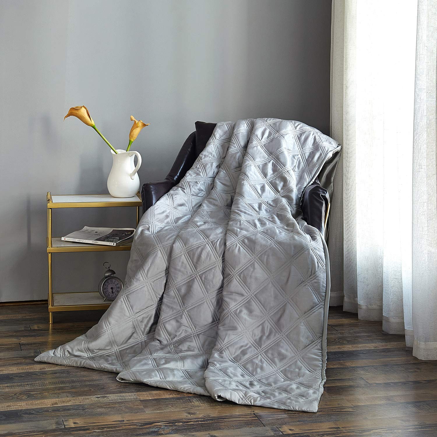 OMYSTYLE Cooling Weighted Blanket Duvet Cover 41x60Inches-100% Tencel Reversible Weighted Blanket Cover with Zipper Closure,8 Ties-Light Grey