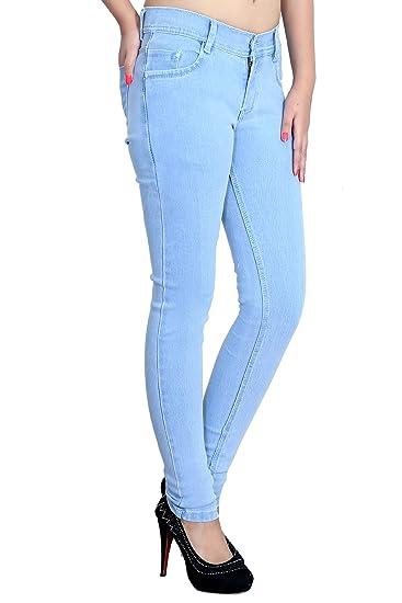 96c12a590e BLINKIN Women's Slim Fit Jeans (DNICE2081_Light Blue_28): Amazon.in ...