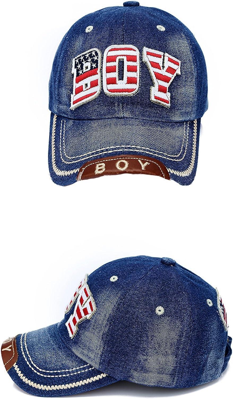 Linggo Unisex Kids American Flag Letter Embroidered Cowboy Baseball Cap