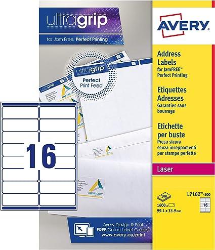 Avery España L7162-15 - Etiquetas adhesivas blanca para direcciones, imprimibles 99,1x33,9mm Caja de 240 etiquetas: Amazon.es: Oficina y papelería