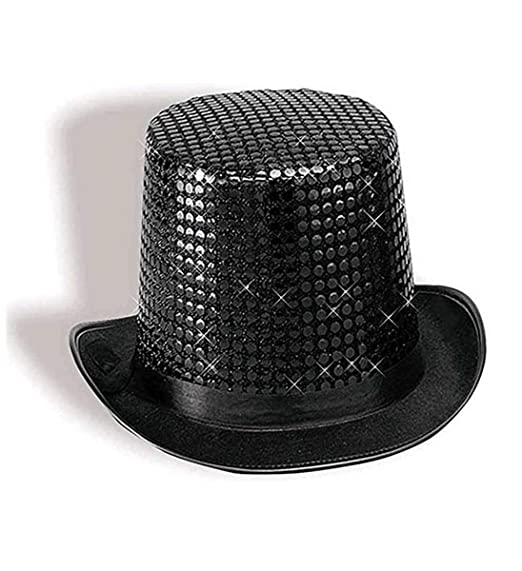 6540a85efe4bf Amazon.com  Forum Novelties Black Sequin Top Hat  Toys   Games