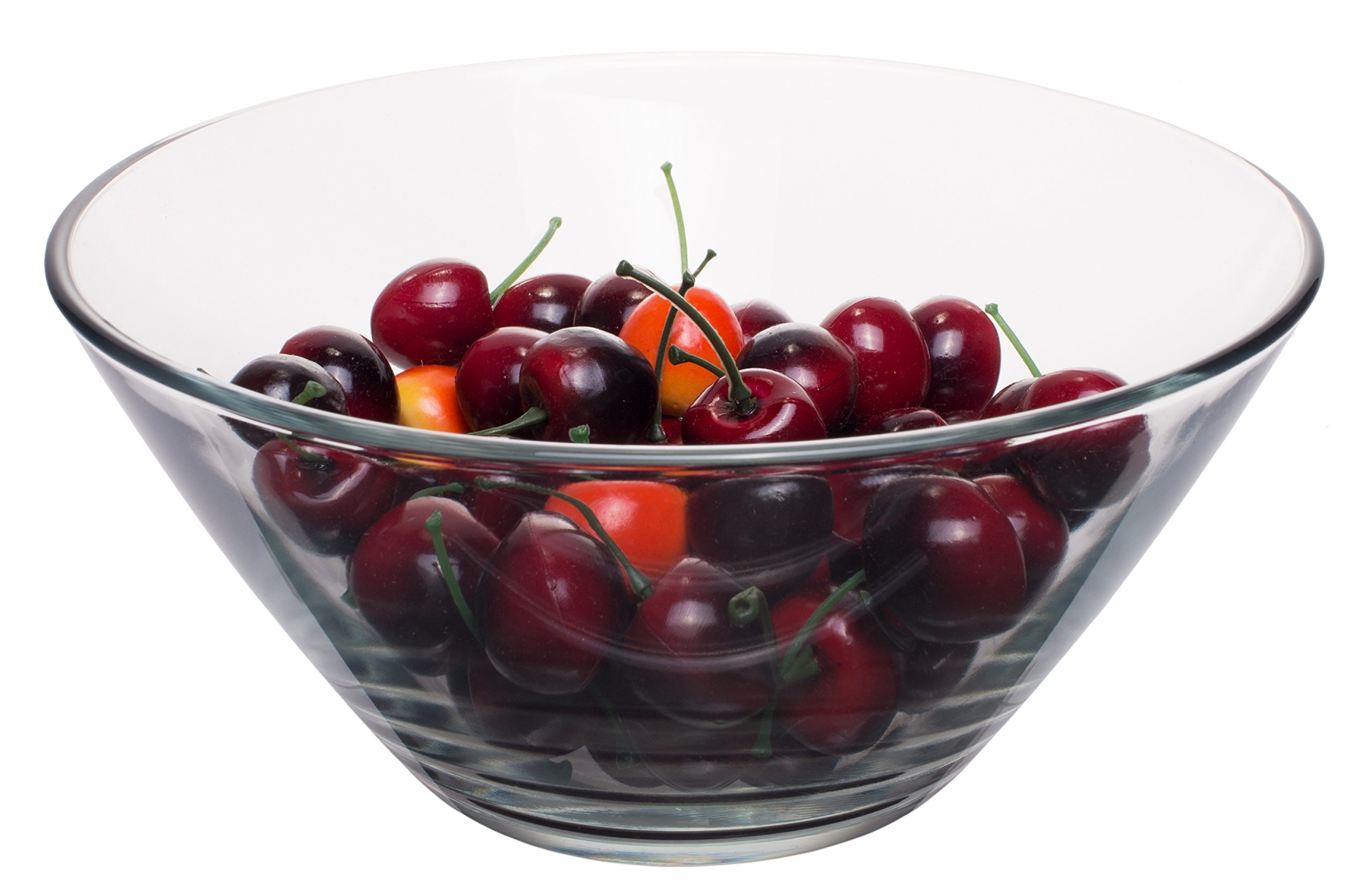 Medium Round Clear Glass Salad Serving and Mixing Bowl, 2.27 Quart