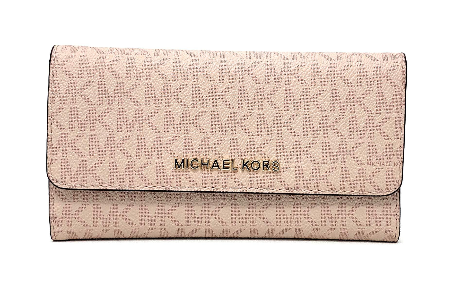 Michael Kors Jet Set Travel Large Trifold Signature PVC Wallet (Fawn/Ballet) by Michael Kors (Image #1)