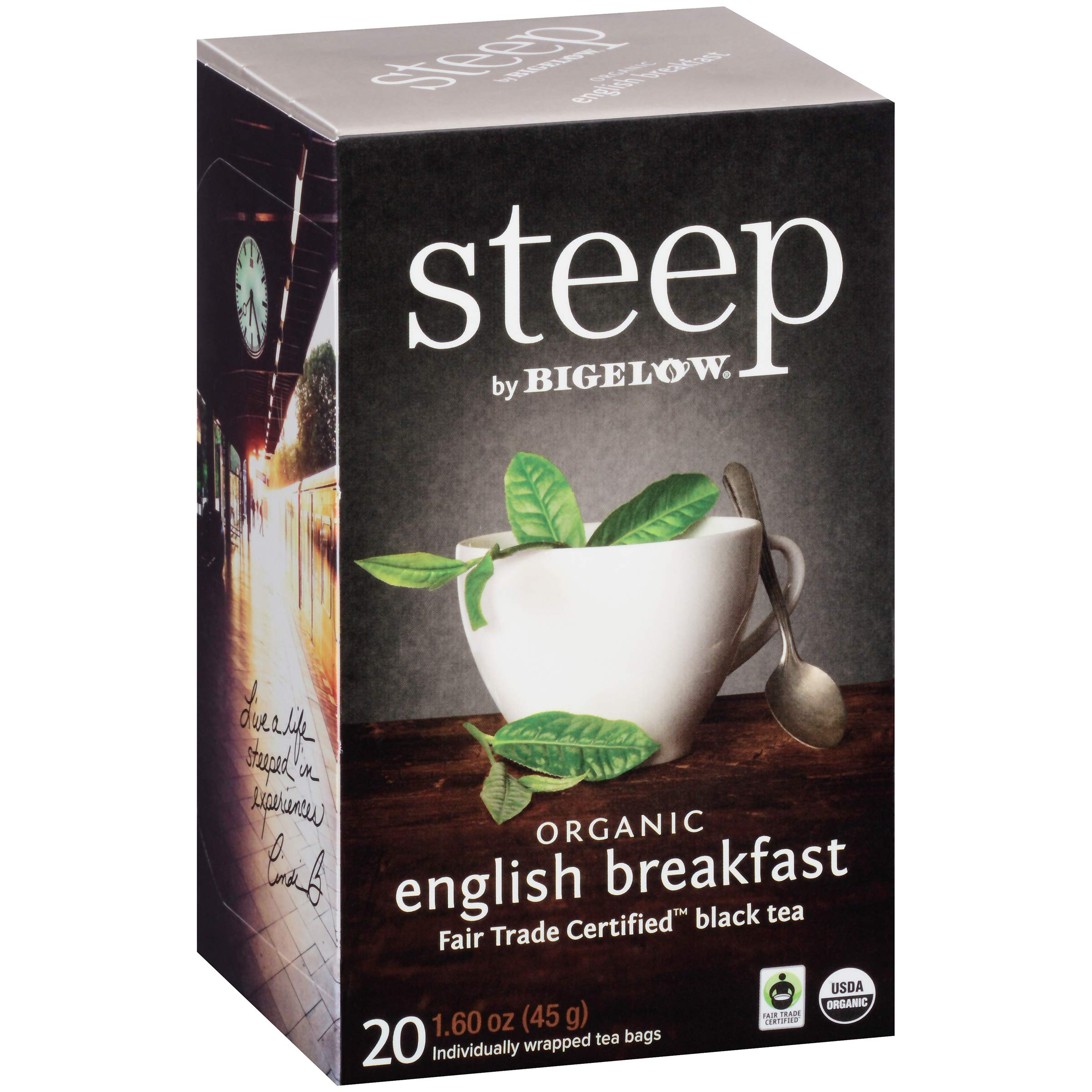 Steep by Bigelow Organic English Breakfast Tea 20 Count 1.6 oz (Pack of 6) Organic Caffeinated Individual Black Tea Bags, for Hot Tea or Iced Tea, Drink Plain or Sweetened with Honey or Sugar