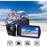 Caméscope Full HD Caméra Vidéo Numérique Caméscopes Mini DV 1080P 3.0 Pouces TFT-LCD 16x Zoom Appareil Photo Numerique 24MP Vision de Nuit Infrarouge Écran Tactile (Supports 270°Rotation) avec Microphone Externe et Télécommande (Noir)