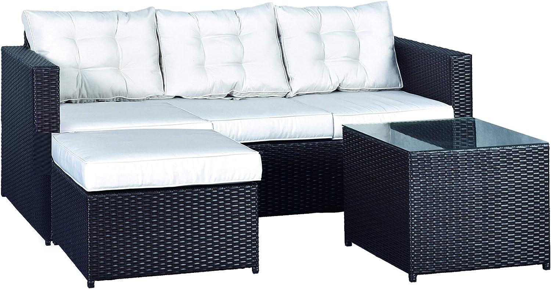 MOMMA HOME Conjunto Muebles de Jardín Ratán | Muebles para terraza/Exterior | Set de Ratán Sintético | Modelo MYKO Color Marrón | Sofá + Mesita Auxiliar