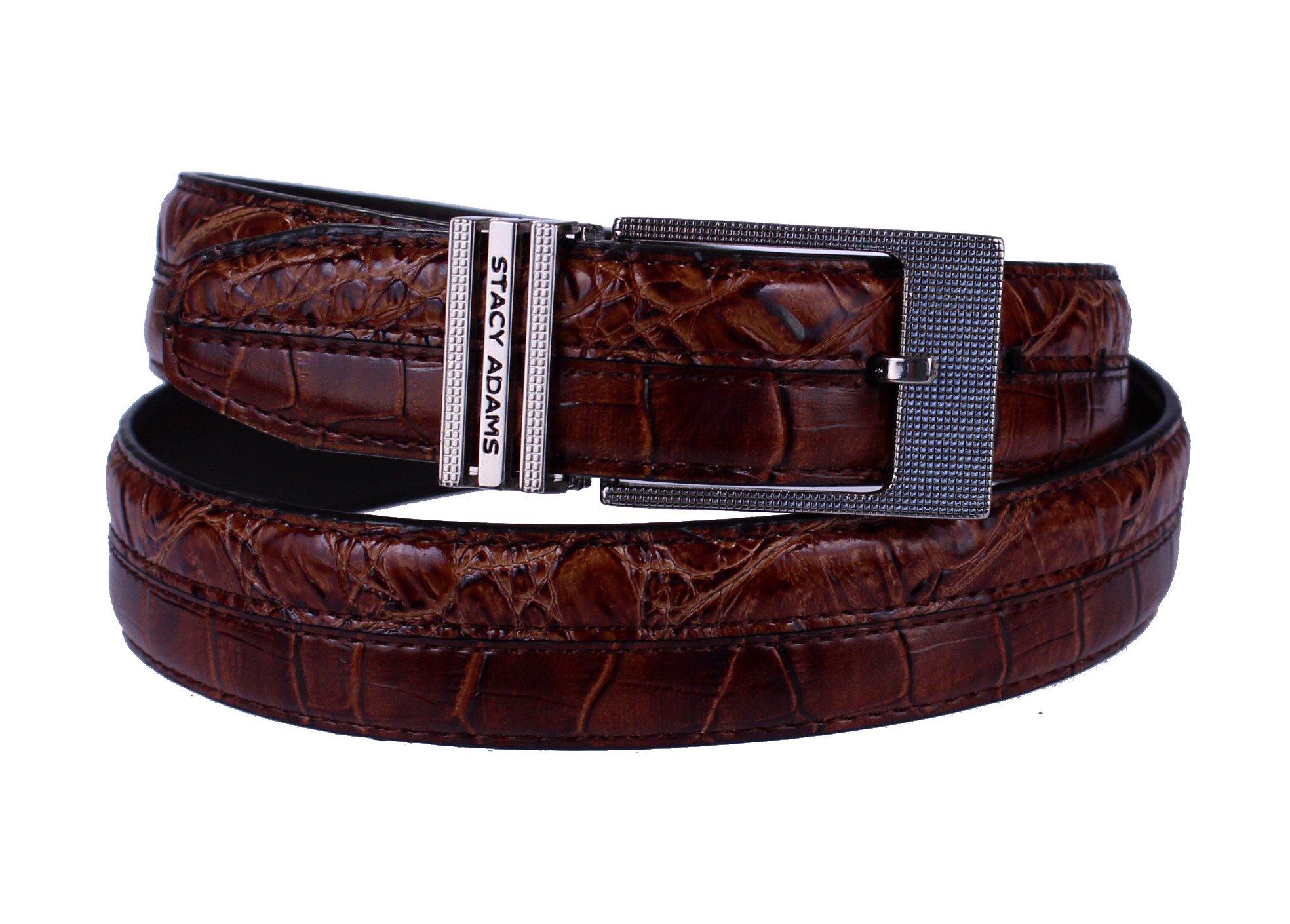 Stacy Adams 6-179 Hornback and Croco Embossed Mens Adjustable Belt with Metal Keep, Polished Nickle Buckle (36, Cognac)