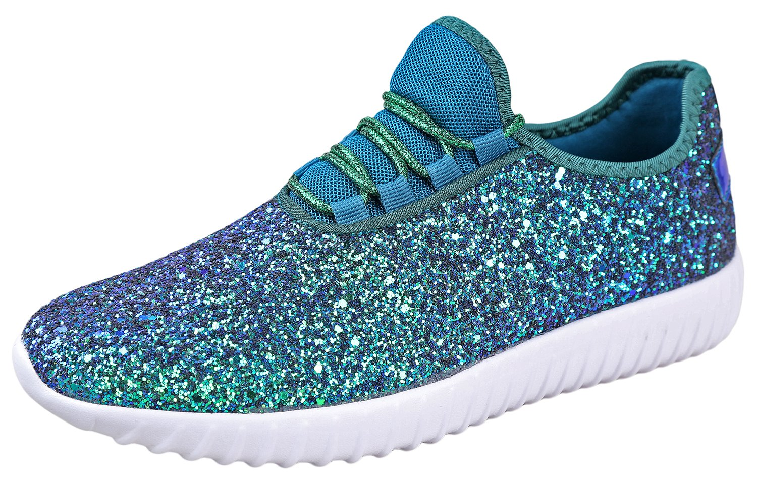 Foxy Grey Allison Womens Sneakers | Glitter Shoes for Women | Fashion Sneakers | Sparkly Shoes for Women | Casual Shoes B07D95QYCX 6 B(M) US|Green