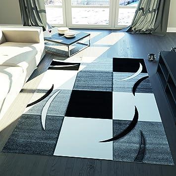 VIMODA Karierter Kurzfloch Wohnzimmer Teppich Grau Schwarz Weiß Kachel  Muster Konturenschnitt Gebogene Streifen, Maße: