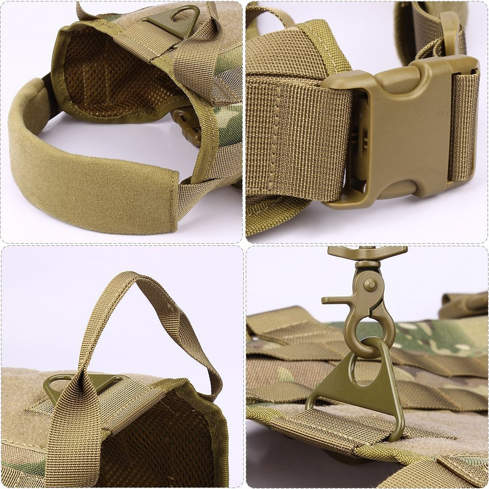 MoloVinson Tactical Dog Molle Vest Harness Training Camping Dog Vest with Two Handles Military Patrol K9 Dog Harness for Small Medium & Large Dog by MoloVinson (Image #6)