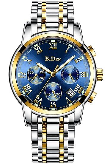 Relojes de Pulsera Para Hombre Cronógrafo Impermeable Luminoso Calendario Analógico Reloj de Cuarzo Multifunción de Negocios Vestido Reloj de Pulsera de ...
