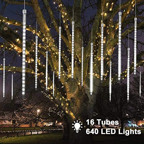 Maoyue Meteor Shower Lights 16 Tubes 640 Led Icicle Lights Outdoor Christmas Decorations Lights Waterproof Cascading Lights For Holiday Decorations