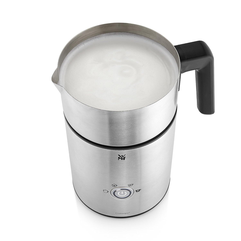 WMF LONO Milk & Choc - Espumador de leche para inducción, para hacer espuma de leche caliente o fría y chocolate caliente, Cromargan® mate/plateado: ...