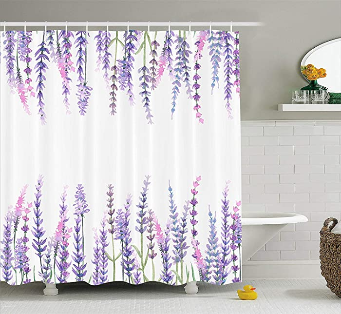"""Ambesonne Purple Shower Curtain, Lavender Plants Aromatic Evergreen Shrub of Mint Family Nature Oil Country Style Print, Cloth Fabric Bathroom Decor Set with Hooks, 84"""" Long Extra, Lilac"""